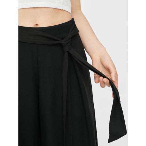 MANGO Women Black Solid Culottes