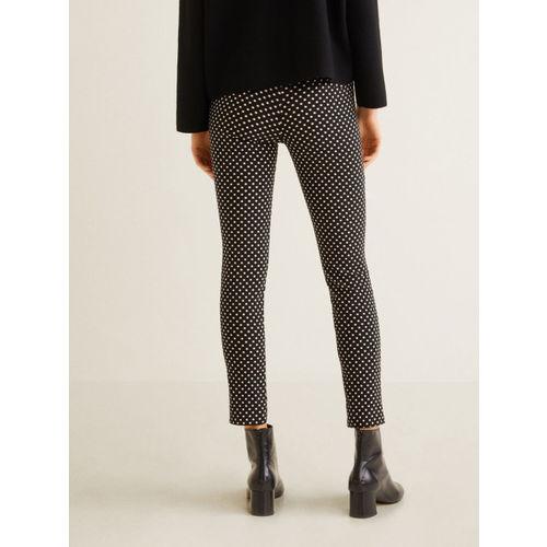 MANGO Women Black & White Regular Fit Printed Trousers