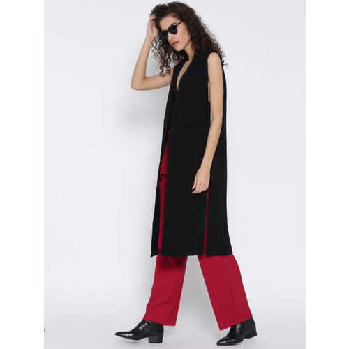 MANGO Women Red Solid Parallel Trousers