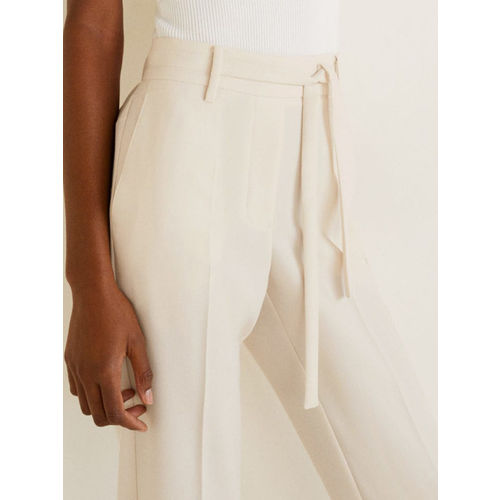 MANGO Women Cream-Coloured Regular Fit Solid Peg Trousers