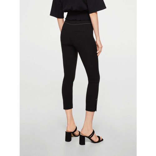 MANGO Women Black Regular Fit Solid Cropped Trousers