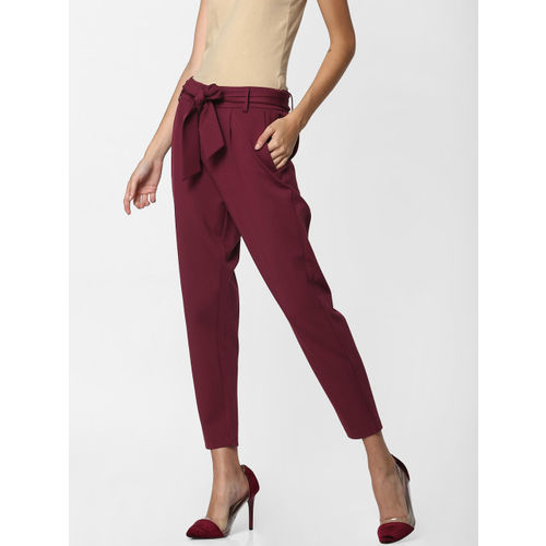 ONLY Women Burgundy Slim Fit Solid Peg Trousers