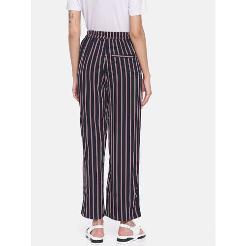 ONLY Women Navy Blue & Red Regular Fit Striped Regular Trousers