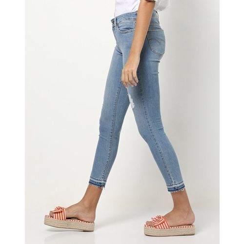 LEVIS Washed Distressed Cropped Skinny Jeans