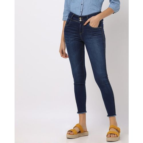 KRAUS Lightly Washed Skinny Jeans with Frayed Hems