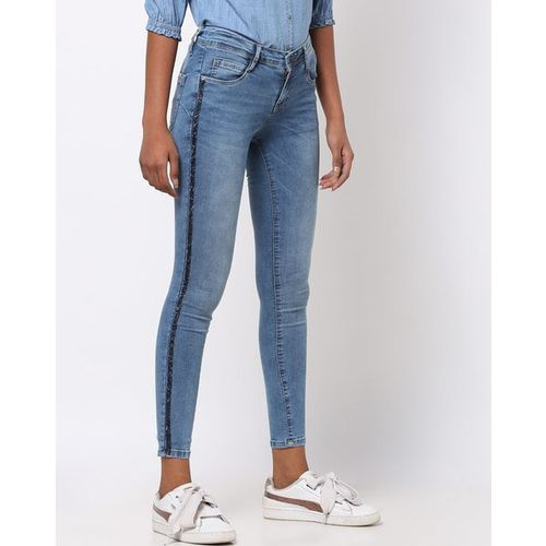 KRAUS Mid-Rise Skinny Jeans with Embellishments