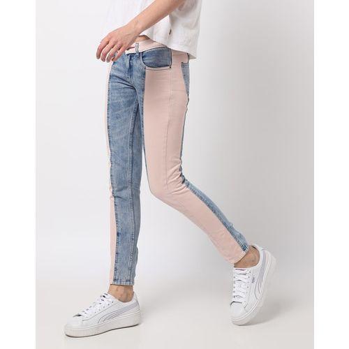 Freakins Colourblock Panelled Slim Fit Jeans