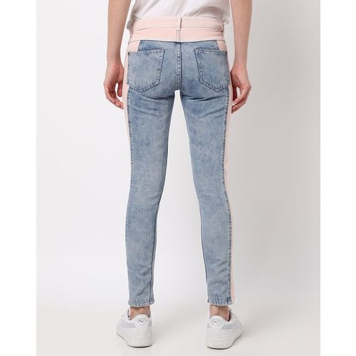 Freakins Colourblock Panelled Slim Fit Jeans