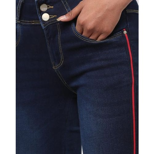 KRAUS Mid-Rise Skinny Jeans with Contrast Taping