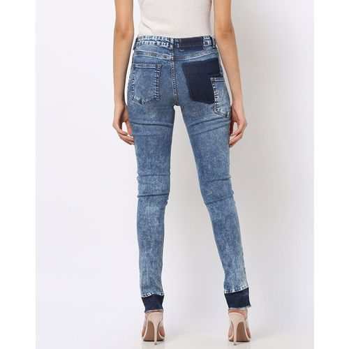 Freakins Acid-Washed Skinny Jeans with Contrast Panels