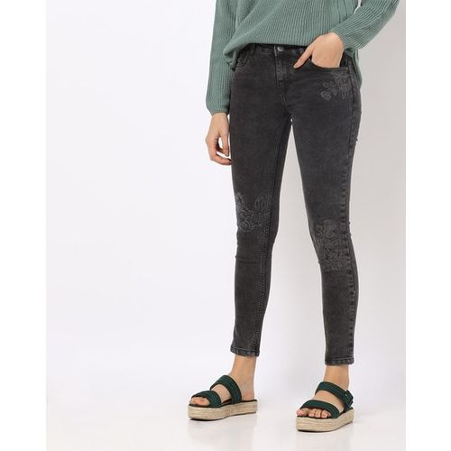 Freakins Skinny Jeans with Floral Embroidery