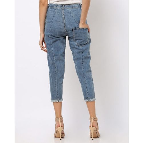 Freakins Cropped Slim-Fit Jeans with Raw Edges