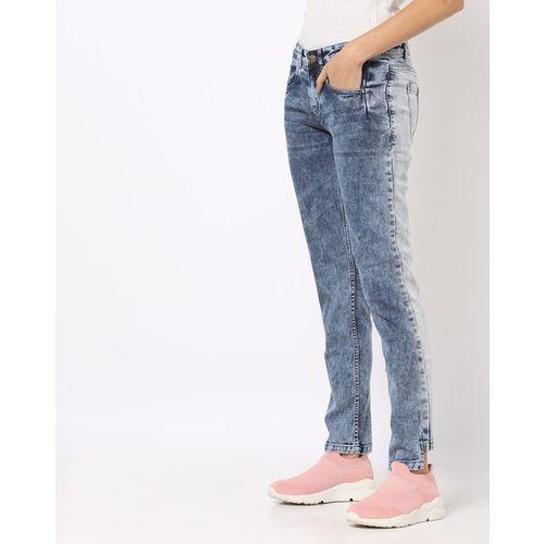 Freakins Acid-Washed Boyfriend Jeans with Step-Hem