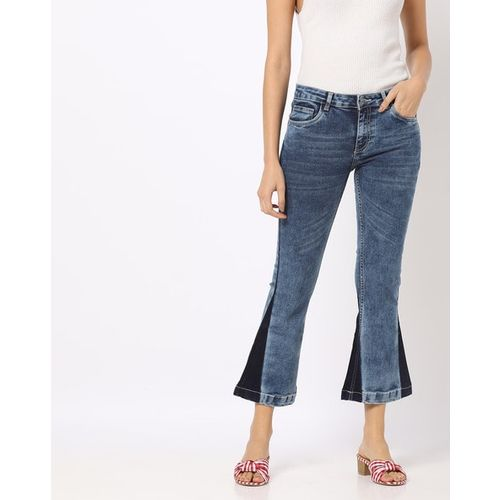 Freakins Washed Boot-Cut Jeans with Contrast Panels
