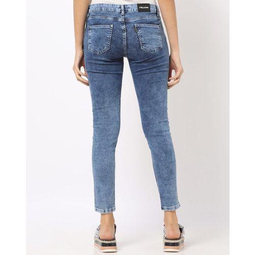 Freakins Acid-Washed Ankle-Length Skinny Jeans