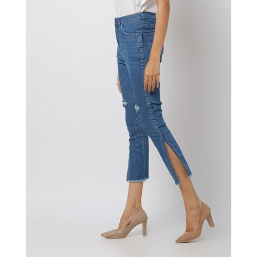 Freakins Distressed Slim Fit Jeans with Frayed Hems
