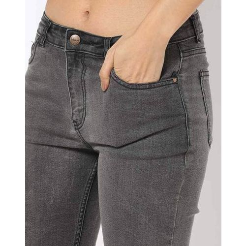 Freakins Washed Boot-Cut Jeans with Eyelets