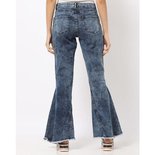 Freakins Acid-Washed Boot-Cut Jeans with Slits