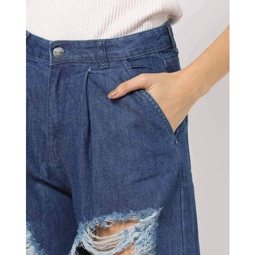 Freakins Distressed Flared Jeans