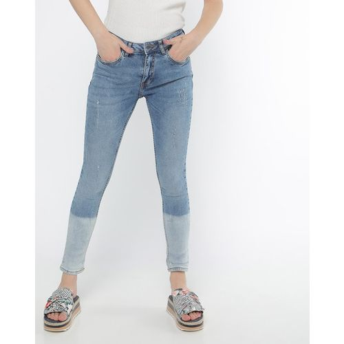 PROJECT EVE WESTERN WEAR Lightly Washed Colourblock Slim Jeans with Distress