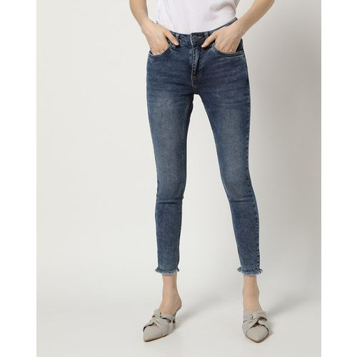 PROJECT EVE WESTERN WEAR Lightly Washed Cropped Slim Jeans with Frayed Hems