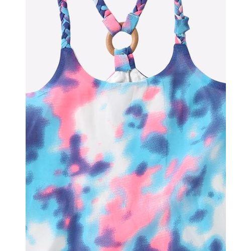 NAUTI NATI Tie & Dye Print Asymmetrical Racerback Top