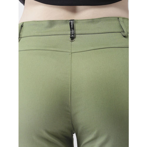 FOREVER 21 Women Kendall + Kylie Olive Green Regular Fit Solid Regular Trousers