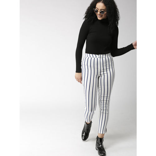 FOREVER 21 Women White & Navy Striped Cropped Trousers