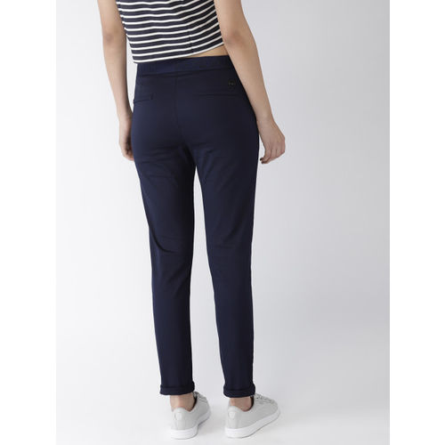 FOREVER 21 Kendall + Kylie Women Navy Blue Regular Fit Solid Regular Trousers