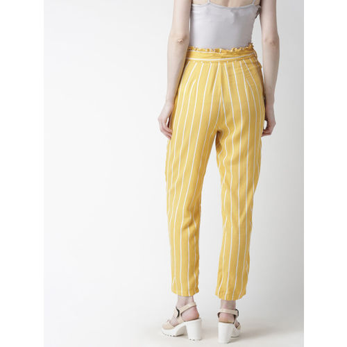 FOREVER 21 Women Yellow & White Regular Fit Striped Peg Trousers