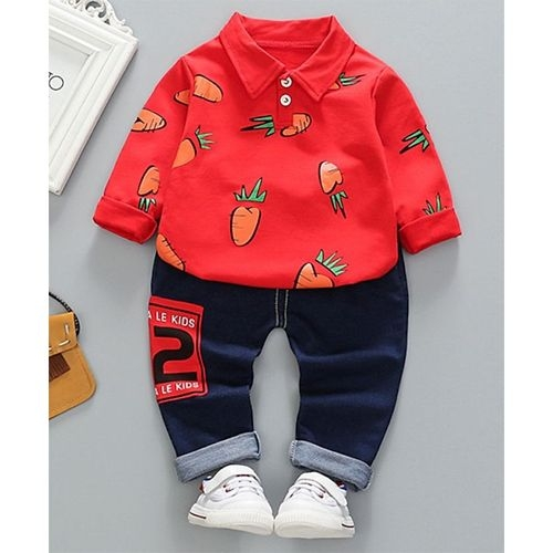 Pre Order - Awabox Full Sleeves Carrot Print Tee With Jeans - Red