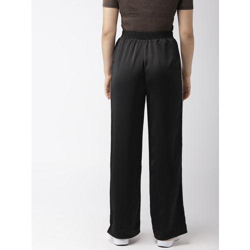 FOREVER 21 Women Black Regular Fit Self Design Regular Trousers