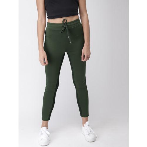 FOREVER 21 Women Olive Green Knitted Regular Trousers