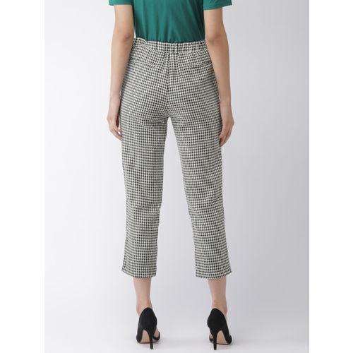 FOREVER 21 Women White & Black Regular Fit Printed Trousers
