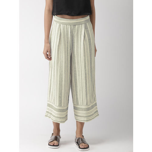 FOREVER 21 Women Off-White & Navy Blue Striped Parallel Trousers