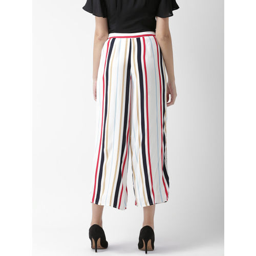 FOREVER 21 Women White & Navy Blue Regular Fit Striped Culottes