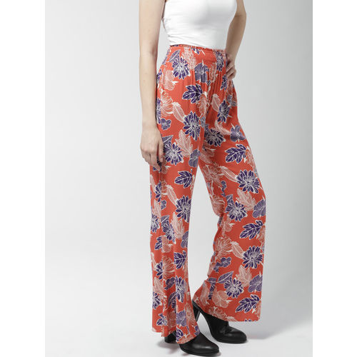 FOREVER 21 Women Orange & Purple Regular Fit Printed Parallel Trousers