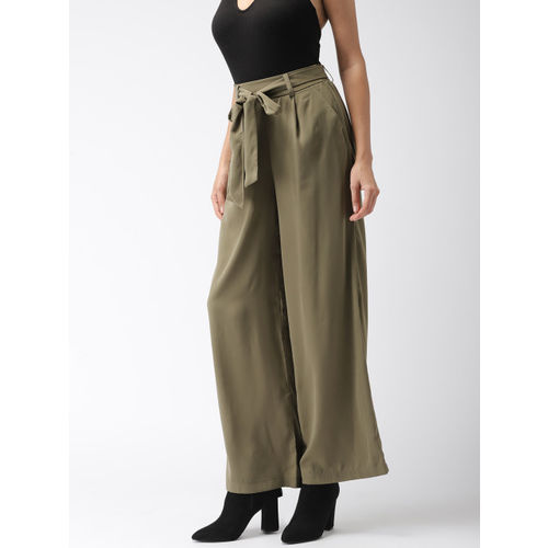 FOREVER 21 Women Olive Green Regular Fit Solid Parallel Trousers