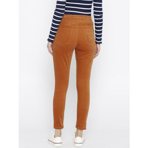 FOREVER 21 Women Rust Brown Regular Fit Solid Cropped Trousers