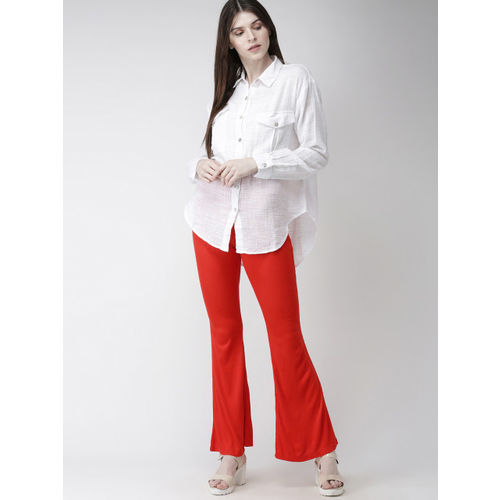 FOREVER 21 Women Red Regular Fit Solid Parallel Trousers