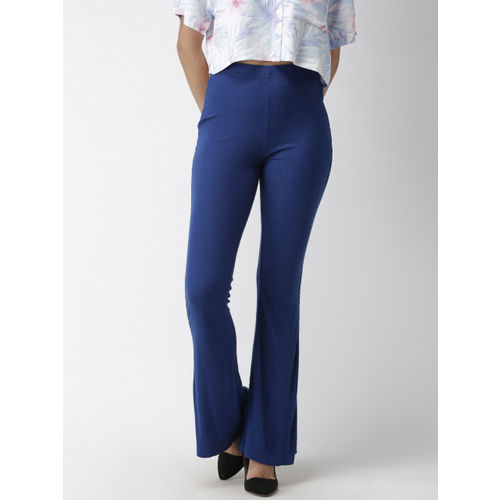 FOREVER 21 Women Blue Regular Fit Self Design Parallel Trousers