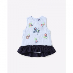 NAUTI NATI Floral Embroidered Striped Top with Ruffled Hemline