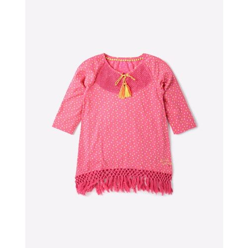 POINT COVE Printed Crew-Neck Top with Braided Tassels