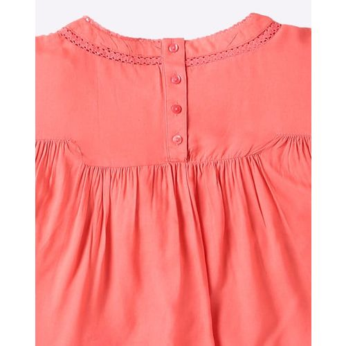 AJIO Pleated Flared Top with Embroidery