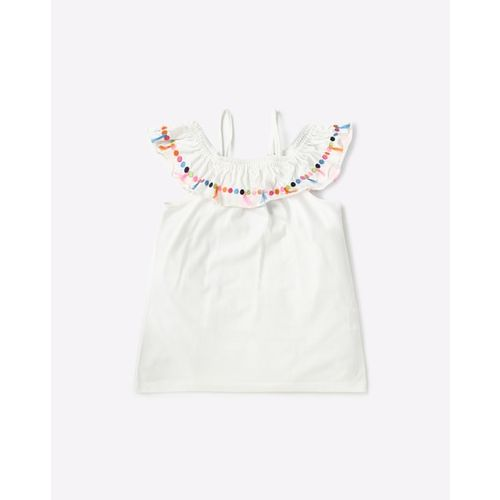 AJIO Cold-Shoulder Top with Embroidery