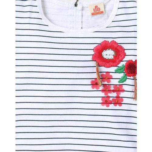 UFO Striped Top with Floral Embroidery