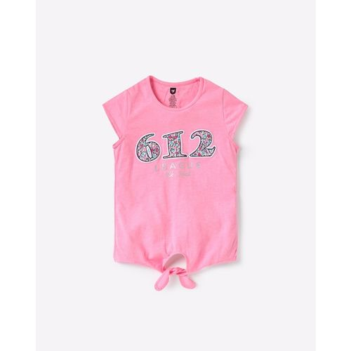 612 League Typographic Print Crew-Neck Top with Front Tie-Up