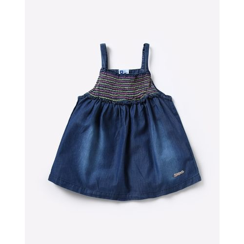612 League Mid-Wash Strappy Flared Top with Smocking