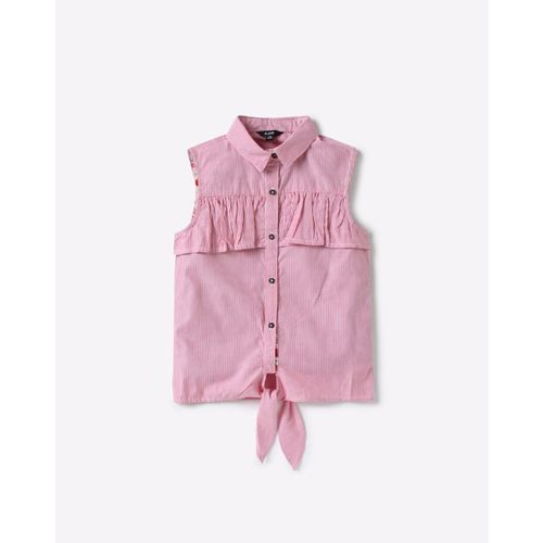 AJIO Sleeveless Striped Shirt Top with Front Tie-Up