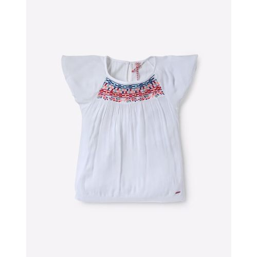 POINT COVE Embroidered Top with Raglan Sleeves